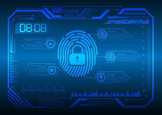Hud huella digital candado cerrado en el fondo digital, seguridad cibernética