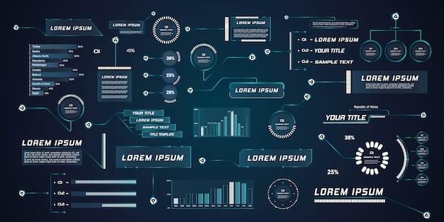 Hud de llamada de líder de estilo futurista. plantillas digitales modernas aplicables para el diseño de marcos. llamadas de información y flechas. la interfaz de los elementos del conjunto gráfico.
