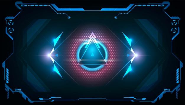 Hud triángulo futurista abstracto con luz azul y rosa brillante.