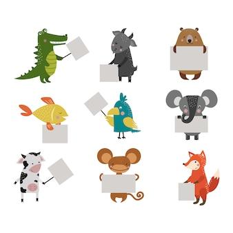 Huelga de zoológico de animales salvajes con placa de placa limpia.
