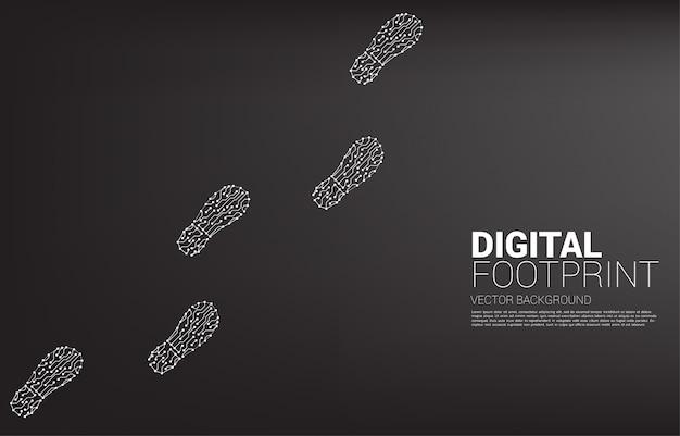 Huella del circuito de línea de conexión de puntos. transformación digital empresarial y huella digital.