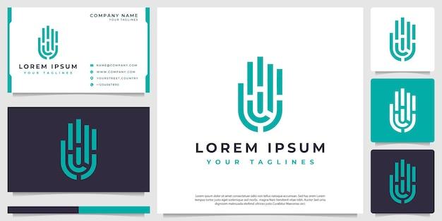 Huella dactilar mano logo vector moderno minimalista
