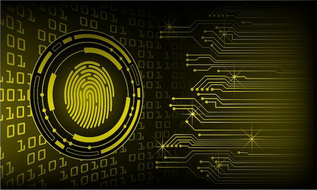 Huella digital amarilla cyber circuito futuro concepto de tecnología de fondo