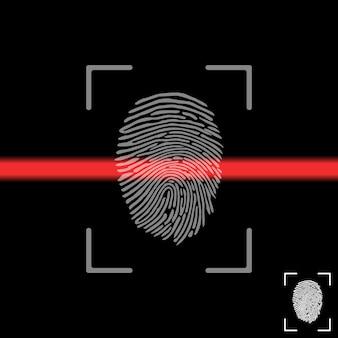 Huella digital en la pantalla de escaneo. escaneo de huellas digitales.