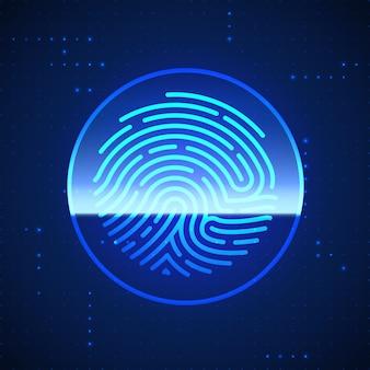 Huella digital de seguridad cibernética escaneada. sistema de identificación de escaneo de huellas dactilares. concepto de seguridad y autorización biométrica.