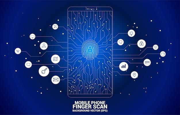 Huella digital del vector y el icono de la almohadilla de bloqueo en el móvil del estilo de placa de circuito de punto y línea.