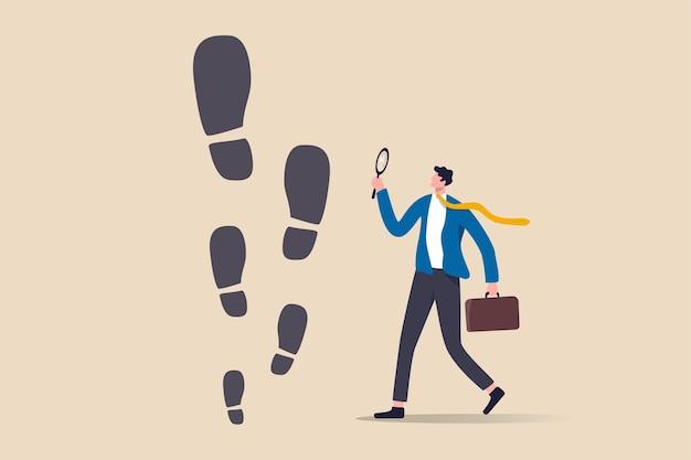 Huella de éxito empresarial, objetivo de alto crecimiento y superación con pasos más grandes o trayectoria profesional