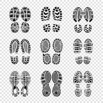 Huella humana. botas para caminar soles pasos siluetas vector plantilla textura de impresión