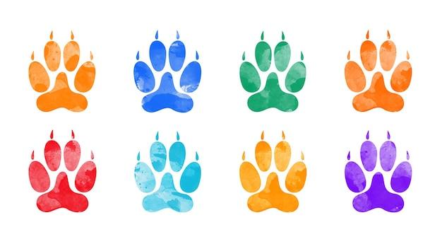 Huellas de animales de color de agua dibujadas a mano silueta de una huella de pata