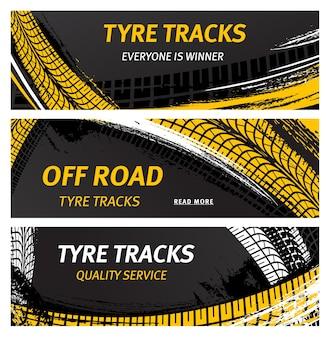 Huellas de neumáticos, neumáticos todoterreno imprime marcas abstractas de rodadura de grunge de coche vectorial