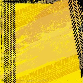 Huellas de neumáticos sobre fondo beige ilustración vectorial