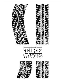 Huellas de neumáticos sobre fondo blanco ilustración vectorial