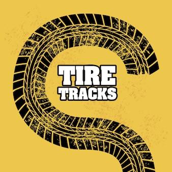 Huellas de neumáticos sobre fondo naranja ilustración vectorial