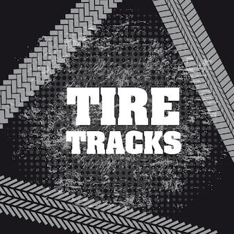 Huellas de neumáticos sobre fondo negro ilustración vectorial