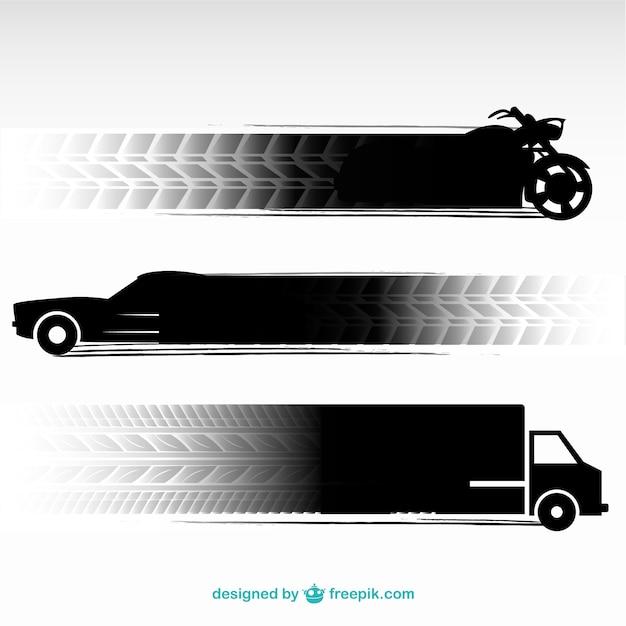 Huellas de neumáticos y vehículos