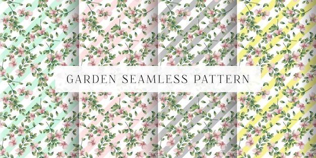 Huellas de tela sin costuras de jardín y pasteles