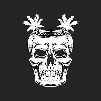 Hueso del cráneo con cannabis en el logo de la cabeza.