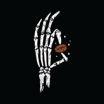 Hueso de la mano con un café diseño gráfico de la camiseta del arte de la ilustración