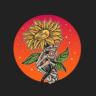 Hueso de la mano tomar vector de ilustración de flor