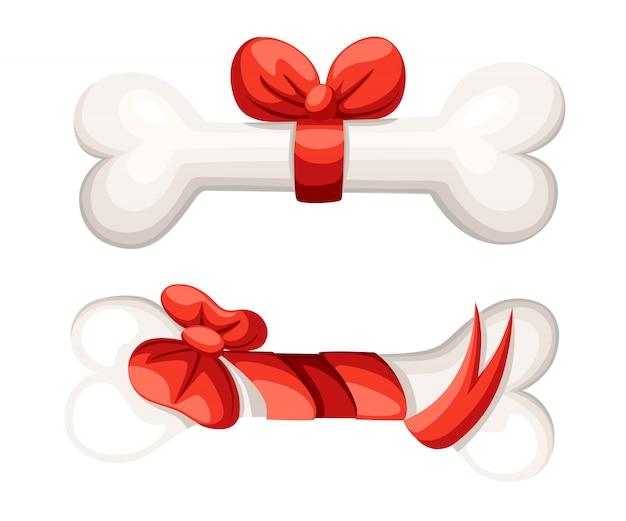 Hueso de perro con cinta y lazo. estilo de dibujos animados. ilustración para el año nuevo de la tarjeta de felicitación del perro, la tienda de mascotas o las clínicas veterinarias. página del sitio web y elemento de aplicación móvil.