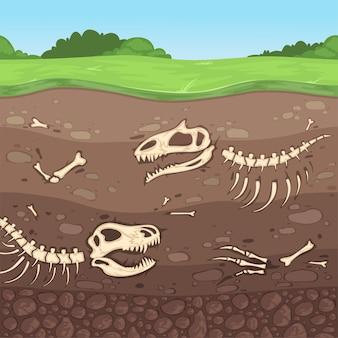Huesos de arqueología. huesos de dinosaurios subterráneos capas de suelo enterrado arcilla ilustración de dibujos animados. esqueleto de dinosaurio en la tierra, cráneo antiguo