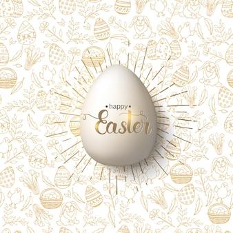 Huevo de aster con letras de moda hechas a mano