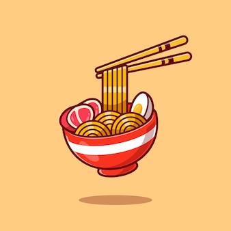 Huevo y carne de fideos ramen con dibujos animados de palillos