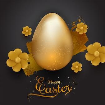 Huevo de color dorado brillante realista y hermosa flor en bl