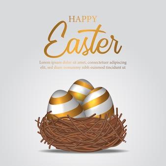 Huevo decorativo 3d realista con color dorado en el nido de pájaro.