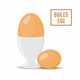 Huevo de dibujos animados en huevera, estilo plano
