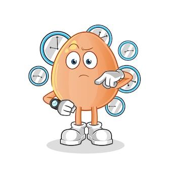 Huevo con dibujos animados de reloj de pulsera. mascota de dibujos animados