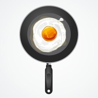 Huevo frito en sartén, ilustración vectorial