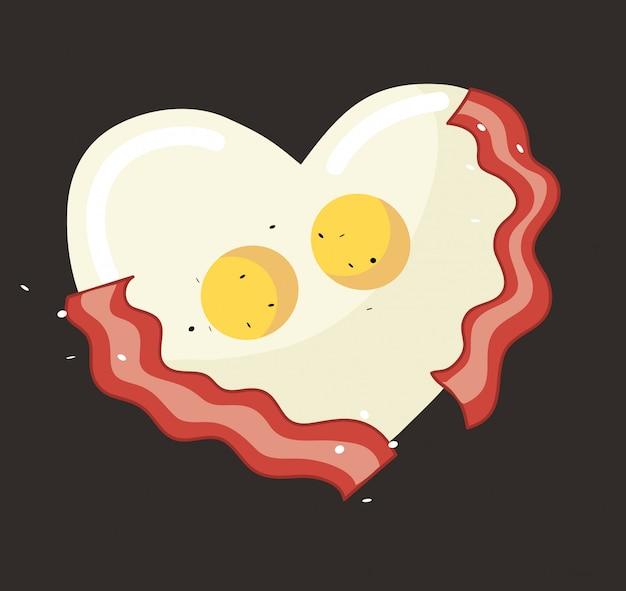 Huevo frito y tocino en forma de corazón