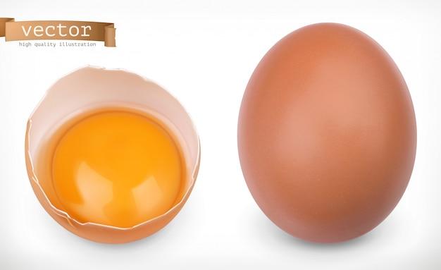Huevo de gallina entero y huevo roto con yema. conjunto realista 3d