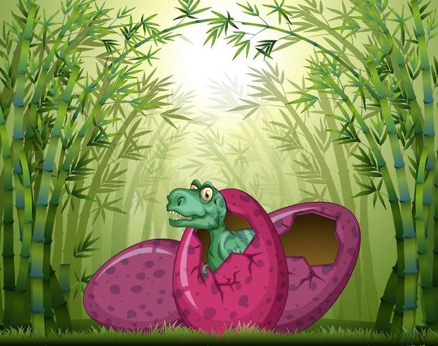 Huevo para incubar t-rex en el bosque de bambú