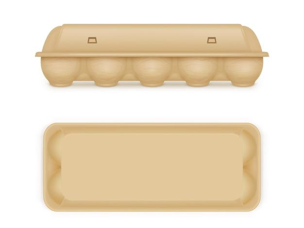 Huevo paquete en blanco bandeja de comida caja contenedor