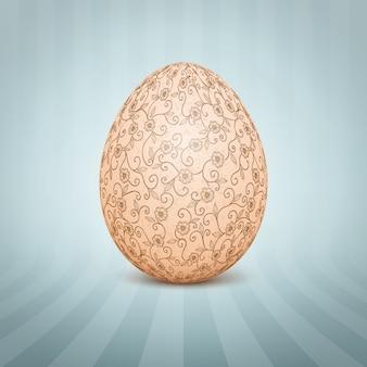 El huevo de pascua con un adorno de patrón floral