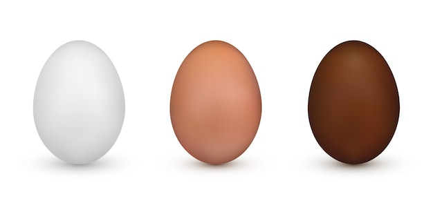 Huevo de pascua blanco, marrón y chocolate