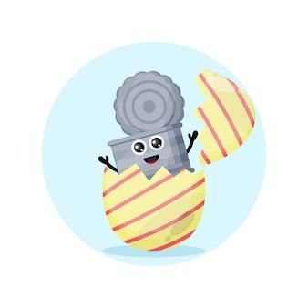 Huevo de pascua bote de basura mascota de personaje lindo