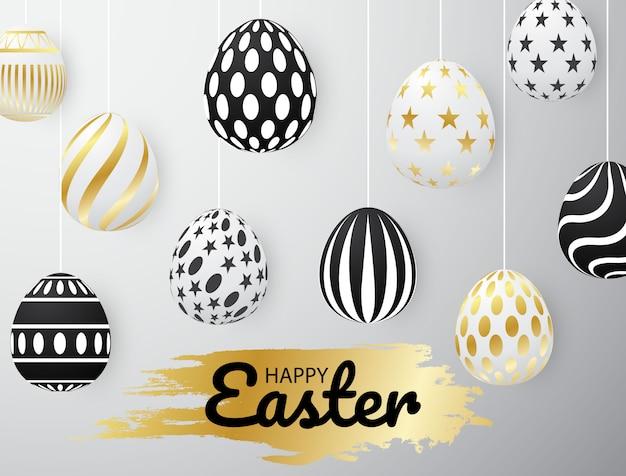 Huevo de pascua dorado diseño uso para ensamblar carteles.