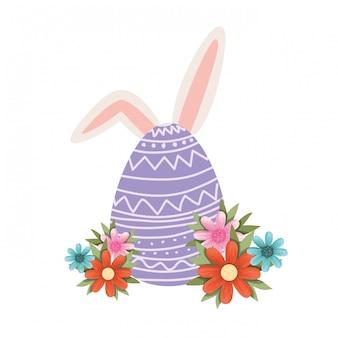 Huevo de pascua con el icono aislado orejas de conejo