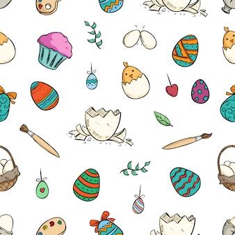 Huevo de pascua en patrones sin fisuras con colorido doodle o estilo dibujado a mano