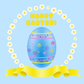 Huevo de pascua pintado de azul y cinta dorada