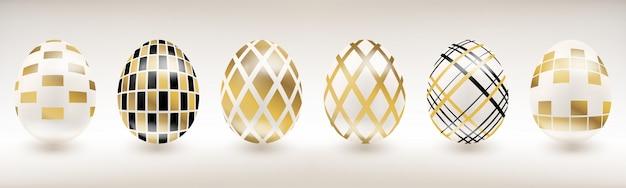 Huevo de pascua de porcelana blanca con decoración geométrica.