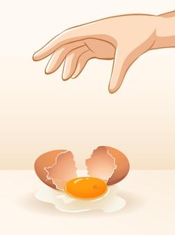 Huevo que deja caer la mano para el experimento de gravedad