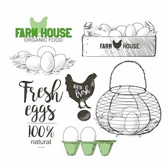 Huevos en el alambre vintage francés