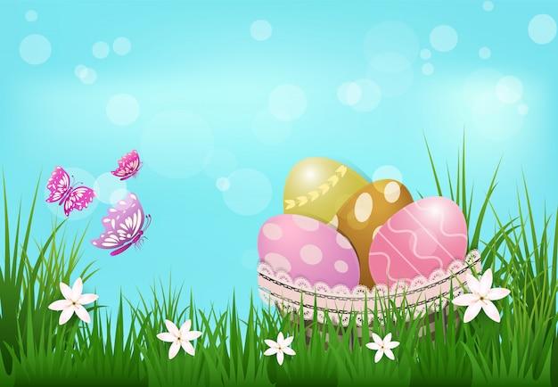 Huevos en la canasta y mariposas, fondo del día de pascua