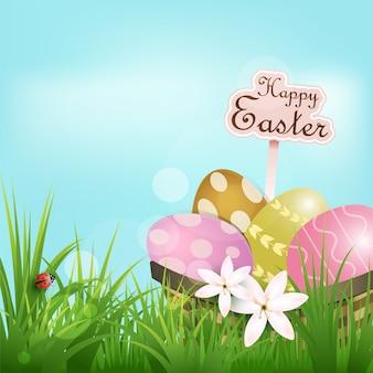 Huevos en la cesta y mariquita, fondo del día de pascua