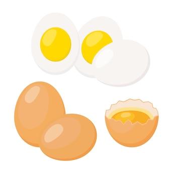 Huevos cocidos, cáscara de huevo roto con yema de huevo