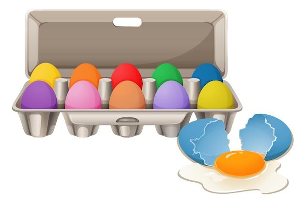 Huevos de colores en caja de cartón